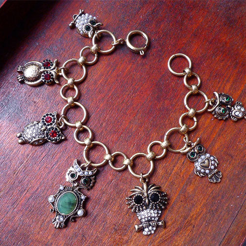 Vintage Bracelet Owl Rhinestone Cute Chain Gift Jewelry Accessories Women