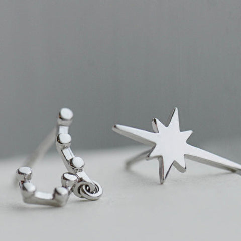 Silver Earrings Polaris North Star Studs Earrings Gift Jewelry Accessories Christmas Gift For Women