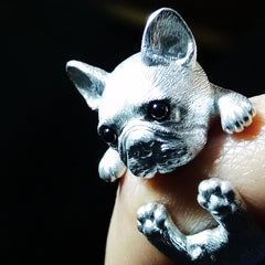 Handmade Silver Ring Bulldog Puppy Pet Unique Cute Adjustable Wrap Ring Christmas Gift Jewelry Accessories Women
