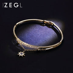 Bracelet Hexagram 18k Gold Plated Rhinestone Cuff Bangle Christmas Gift Jewelry Accessories Women