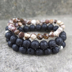 Beaded Bracelets Layered Volcanic Lava Mineral Gift Jewelry Accessories Unisex Men Women