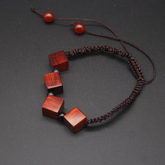 Ebony Cam Wood Bracelet Wooden Bead Cube Cord Bracelet Gift Jewelry Accessories Women
