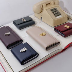 Genuine Handmade leather folded vintage women men long wallet clutch phone purse wallet