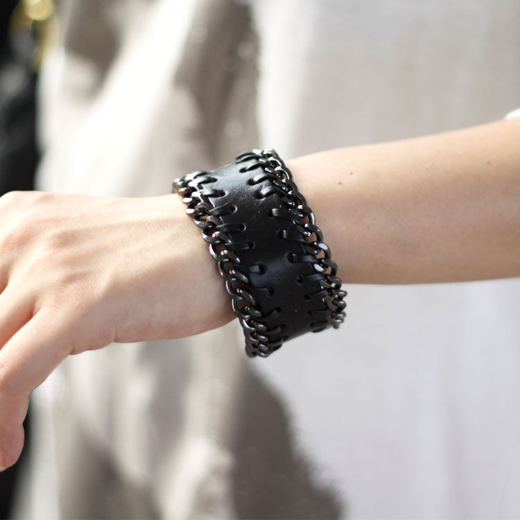 Genuine Leather Bracelets Layered Chain Knit Weaved Vintage Gift Jewelry Accessories Unisex Men Women