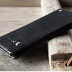 Handmade leather vintage men women men long wallet clutch phone purse wallet