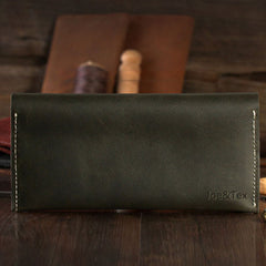 Handmade leather vintage men women long wallet clutch phone purse wallet