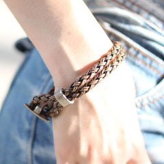 Genuine Leather Bracelets Anchor Layered Knit Weaved Buckle Vintage Gift Jewelry Accessories Unisex Men Women