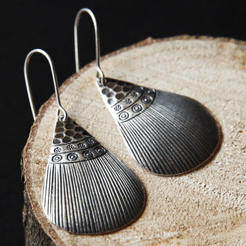 Silver Earrings Handmade Ethnic Triangle Engraved Sculpture Dangle Drop Gift Jewelry Accessories Women