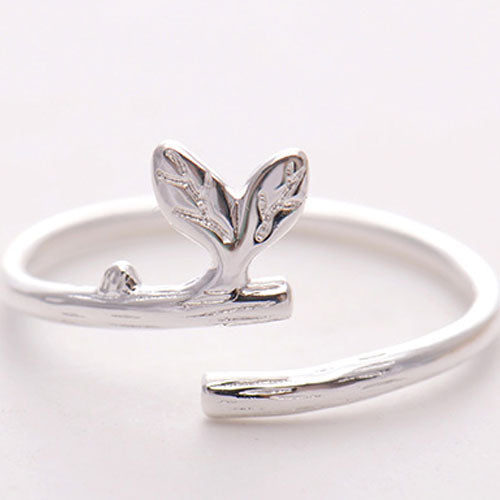 Silver Ring Branch Leaf Statement Ring Adjustable Ring Wrap Gift Jewelry Accessories Women