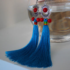Ethnic Earrings Vintage Boho Handmade Tassel Bead Long Dangle Drop Gift Jewelry Accessories Women