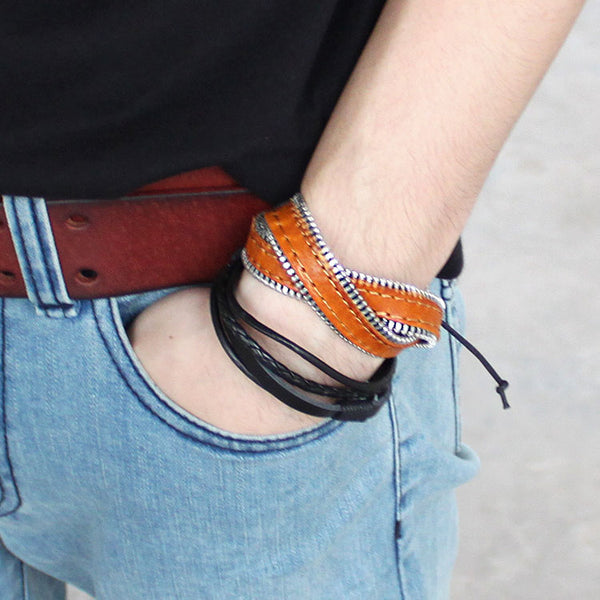 Genuine Leather Bracelets Layered Zipper Gift Jewelry Accessories Unisex Men Women