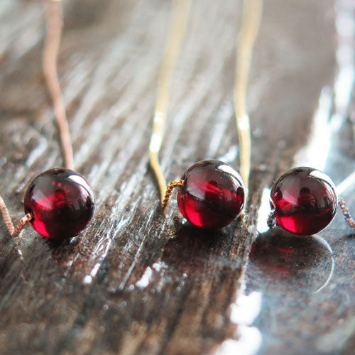 Garnet Necklace Silver Bead Pendant Charm Gift Jewelry Accessories Women