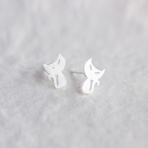 Silver Earrings Cute Kitty Persian Cat Tiny Stud Gift Jewelry Accessories Women