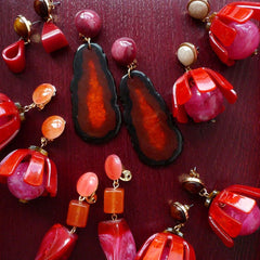 Vintage Earrings Red Oval Acrylic Bead Big Long Drop Dangle Gift Jewelry Accessories Women