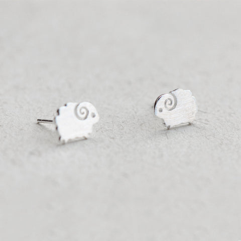 Silver Earrings Cute Animal Sheep Lamb Tiny Stud Gift Jewelry Accessories Women