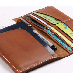 Handmade leather passport women long wallet clutch phone purse wallet
