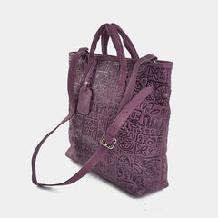 Handmade Leather Cute Stamped Womens Handbag Purse Tote Bag Shoulder Bag