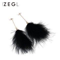 Earrings Layered Feather Boho PearlCharm Long Dangle Drop Gift Jewelry Accessories Women