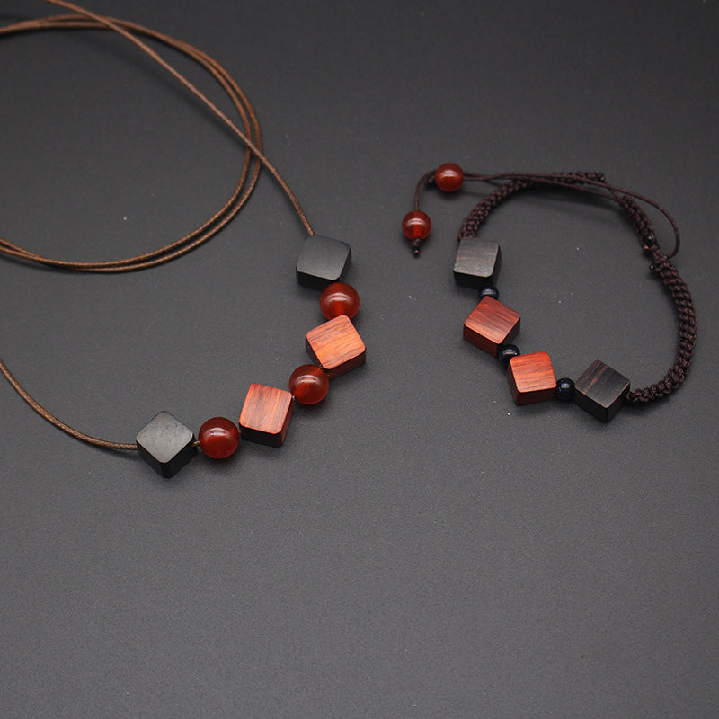 Ebony Camwood Necklace Bead Cube Charm Pendant Gift Jewelry Accessories Women