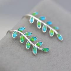 Silver Earrings Olive Laurel Leaves Branch Cuff Climbers Crawler Sweeps Gift Jewelry Accessories Women
