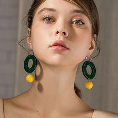 Earrings Hoop Layered Acrylic Color Long Dangle Drop Gift Jewelry Accessories Women