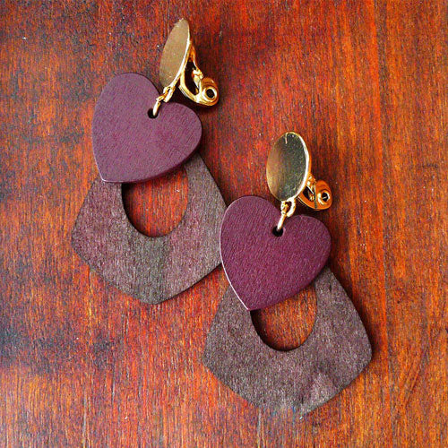 Wooden Earrings Round Heart Slice Geometric Long Drop Dangle Gift Jewelry Accessories Women