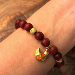 Wooden Beaded Bracelet Silver Golden Plated Red Sandalwood Rosewood Chook Gift Jewelry Accessories Women