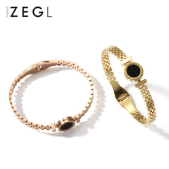 Bracelet 18k Rose Gold Plated Pendant Woven Cuff Bangle Christmas Gift Jewelry Accessories Women