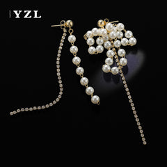 Earrings Pearl Bead Thread Asymmetry Long Dangle Drop Gift Jewelry Accessories Women