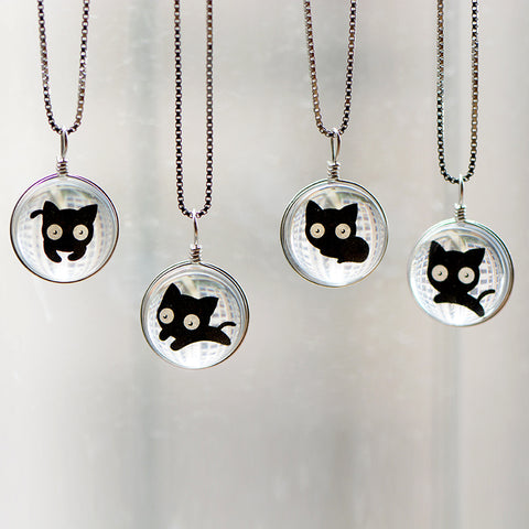 Silver Necklace Kitty Cat Glaze Glass Ball Pendant Charm Necklace Gift Jewelry Cute Accessories Women