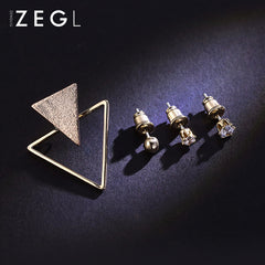 5 Earrings Minimal Geometirc Triangle Studs Unique Gift Jewelry Accessories Women Men Unisex