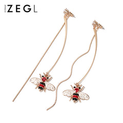 Earrings Honeybee Rhinestone Thread Line Long Drop Dangle Christmas Gift Jewelry Accessories Women