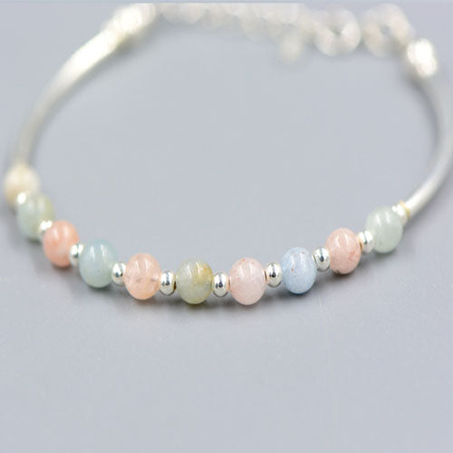 Silver Bracelets Beaded Gemstone Morganite Beryl Pink Blue Multicolor Spiritual Wish Gift Jewelry Accessories Women
