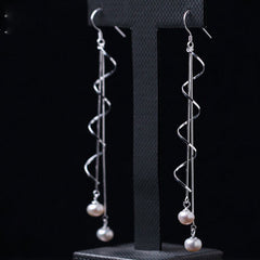 Silver Earrings Pearl Curve Chain Long Dangle Drop Gift Jewelry Accessories Women