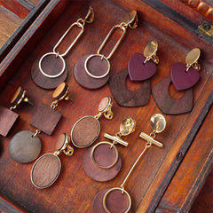 Wooden Earrings Hoop Round Slice Geometric Long Drop Dangle Gift Jewelry Accessories Women