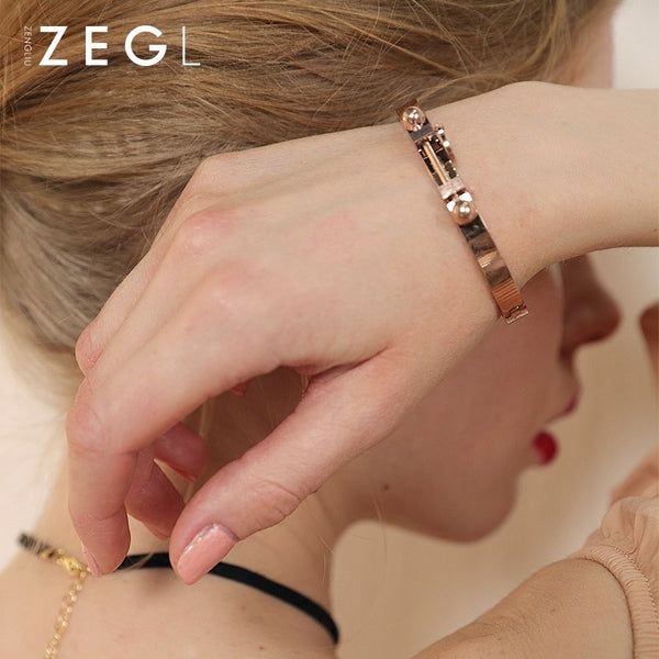 Bracelet 18k Rose Gold Plated Pendant Minimal Nails Cuff Bangle Christmas Gift Jewelry Accessories Women