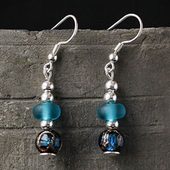 Silver Earrings Glaze Blue Bead Dangle Drop Gift Jewelry Accessories Women