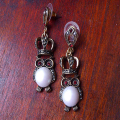 Vintage Earrings Owl Rhinestone Pearl Drop Dangle Gift Jewelry Accessories Women