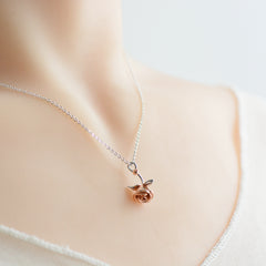 Necklace Silver Rose Gold Plated Flower Pendant Charm Romantic Gift Jewelry Accessories Women