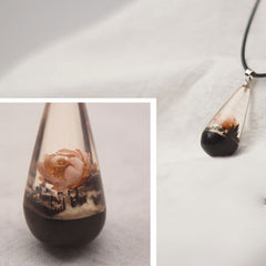 Wooden Necklaces Sandalwood Resin Water Drop Charm Pendant Gift Jewelry Accessories Women