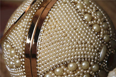 Pearl Clutch Rhinestone Handmade Ball Hoop Handbag Wedding Bridal Women Evening Party Chain Box Wallet Wallet