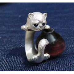 Handmade Silver Ring Kitty Cat Unique Cute Adjustable Wrap Ring Christmas Gift Jewelry Accessories Women