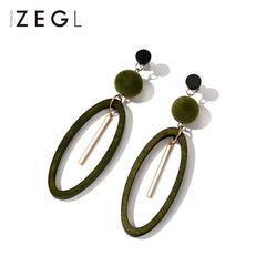 Earrings Wood Oval Hoop Drop Dangle Christmas Gift Jewelry Accessories Women