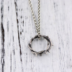 Necklace Silver Vintage Rose Thorns Branches Ring Crown Charm Gift Jewelry Accessories Women