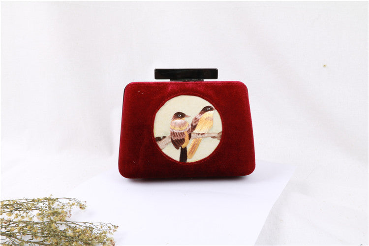 Handmade Velvet Clutch Embroidery Vintage Clutch Evening Handbag Gift For Women Wallet