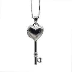 Necklace Silver Heart Shape Key Pendant Charm Necklace Christmas Gift Jewelry Accessories Women