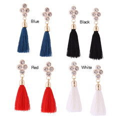 Earrings Tassel Rhinestone Chandelier Long Drop Dangle Party Christmas Gift Jewelry Accessories Women