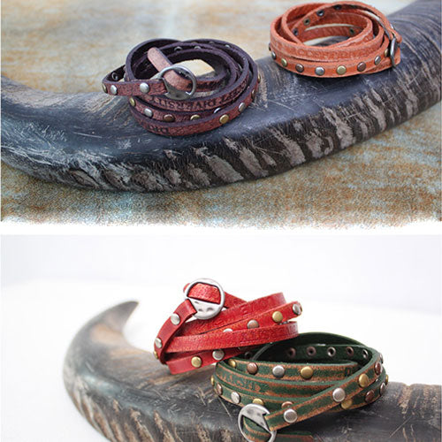 Genuine Leather Bracelets Layered Rivet Studs Punk Gift Jewelry Accessories Unisex Men Women