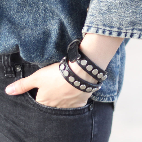 Genuine Leather Bracelets Rivet Studs Buckle Punk Gift Jewelry Accessories Unisex Men Women