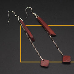 Ebony Camwood Resin Earrings Minimal Stick Chain Long Drop Dangle Gift Jewelry Accessories Women